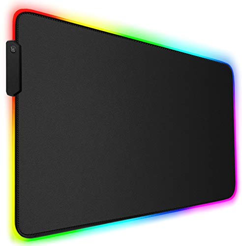 RGB Gaming Mouse Pad, Soft Oversized Glowing Extended LED Keyboard Desk Mat with Durable Stitched Edges and Non-Slip Rubber Base, High-Performance Mouse Pad Optimized for PC Games, 31.5 x 11.8in