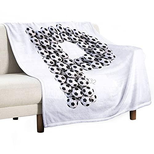 Manta de bebé unisex para niños/niñas/recién nacidos, ilustración temática de fútbol con letra P en mayúscula, diseño deportivo, manta suave y acogedora para silla de paseo de cuna, 75 x 100 cm