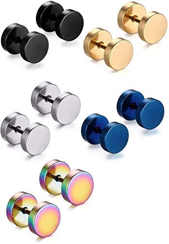 Premuim Titanium Steel Stud Earrings 5 Pairs Men Women Polished Ear Barbell Non allergenic No Rust Not Fear Water & Sweat Body Piercing Jewelry, 10pcs