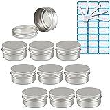 ZEOABSY10 Piezas Tarros de Aluminio con Tapa Rosca 50ml,Plata Tarros de...