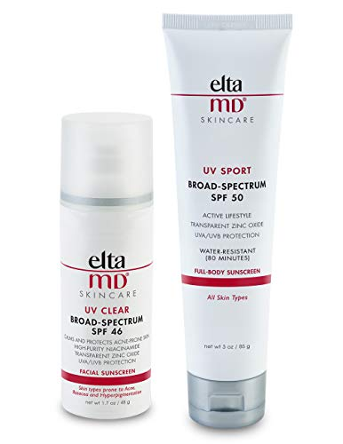 EltaMD Face and Body Zinc Oxide Sunscreen Set, Mineral-based formula, Dermatologist Recommended