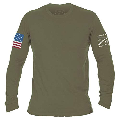 Grunt Style Full Color Flag Basic Long Sleeve T-Shirt (Military Green, X-Large)