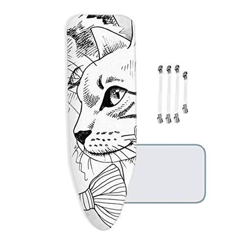 ZJBKX Funda de Tabla de Planchar Hecha 100% algodón, con Acolchado de Fieltro Grueso de 3 mm, Adecuado para Todas Las Tablas de Planchar Grandes, Gato Dibujado a Mano, 110x35 cm