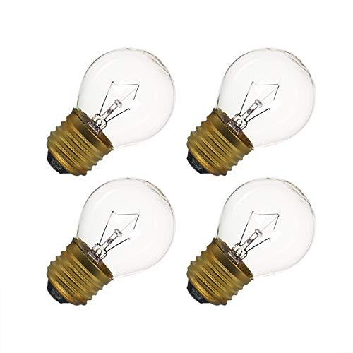 40 Watt Oven Light Bulb G45, 4 Pack Appliance Light Bulbs Replacement for Oven, Refrigerator, Microwave, 415 Lumens - High Temp - Medium Brass Base - 110 to 130 Volt (G45 4-Pack)