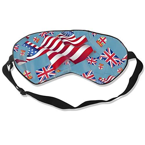 Schlafmaske, Fidschi-Flagge mit Amerika-Fahne, Seidenmaske mit verstellbarem Kopfband, Block, leichtes Nickerchen