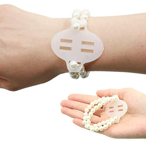 Yokoke Set of 10 Elastic Pearl Wrist Corsage Bands DIY Flower Hand Corsages Bracelets Accessories for Wedding Festival Beach Party Prom (White B)
