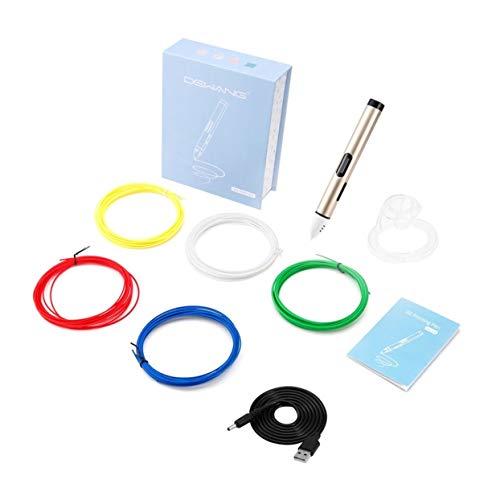 Bolígrafo de impresión 3D de alúmina Detectoy, boquilla de 0,6 mm ajustable a baja temperatura con 5 colores con filamento y base de 5 M (dorado)