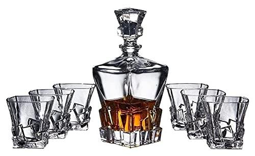 JIUYUE Decantador de Whisky Decantador de vinos Decantadores de Whisky y 6 Gafas de Vidrio Conjuntos de Barras, Cristales soplados a Mano de 7 Licorera