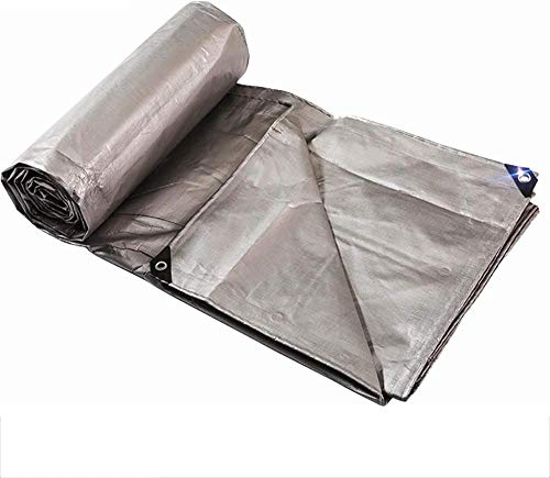 FFJD Camping Tarp Silver PE Tarpaulin for Sheltering the Wind and Rain Strong Corrosion Resistance Anti-oxidation Lightweight Silver-3m×3m