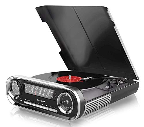 LAUSON Plattenspieler Retro mit Lautsprecher | USB | Musikanlage mit Radio Vintage Bluetooth | Stereoanlage mit Lautsprecher | RCA | Schallplattenspieler | Vinyl Player | Schwarz