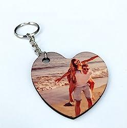 Saphirdesign Schlüsselanhänger aus MDF/HDF - mit Wunsch-Motiv-Bild-Logo. Geeignet als Werbe-Erinnerungs-Geschenk. Das perfekte individuelle Fotogeschenk. (Herz)