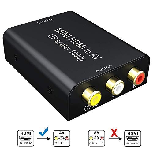 GANA HDMI a RCA Adaptador 1080P HDMI a AV Convertidor 3RCA CVBs de vídeo Compuesto de Audio y Video con Cable de Carga USB para TV DVD PS3 NTSC/PAL (Negro)