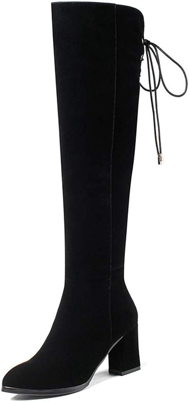 CYBLING Womens Knee High Riding Boots Chunky High Heel Winter Faux Fur Drawstring Thigh High shoes