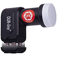 DUR-line +Ultra Quad LNB - 4 participants noir - avec filtre LTE [ Test SEHR GUT ] 4 compartiments, numérique avec protection contre les intempéries, Full HD, 4K,Qualité premium