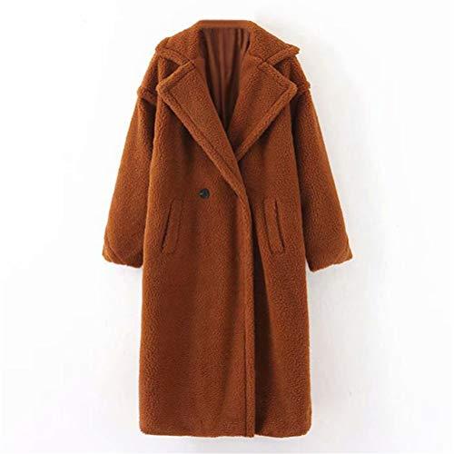 Male god Abrigo de invierno casual sólido para mujer de manga larga de forro polar, cuello de vuelta, abrigo de piel de cordero (color: marrón, tamaño: mediano)