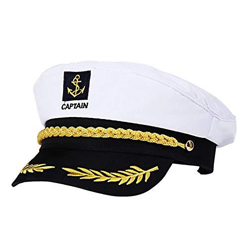 XINGENG Gorra Adulto YachtHats Barco Skipper Ship Sailor Capitán Disfraz Sombrero Gorra Ajustable Marina Almirante para Hombres Mujeres