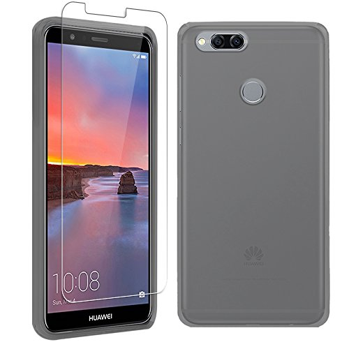 Gzerma Case for Huawei Mate SE Case with Screen Protector 2018, Slim Thin TPU Full Body Matte Back Cover Soft with Clear Bumper, Shockproof Face Protective Film for Huawei Honor 7X, Frosted Gray