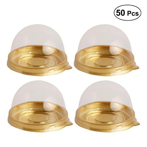 bestonzon 50rund egg-yolk Puff Mondkuchen Box transparent Kunststoff Box Verpackung (Golden)