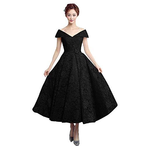 Tea Length Off The Shoulder Wedding Guest Dress Lace Short Ball Gown Dress Black US16
