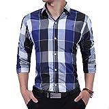 HDDFG Camisa de algodón de manga larga con corte entallado para hombre, botones casuales a cuadros, blusas a cuadros M-XXXL (Color : Blue, Size : L code)