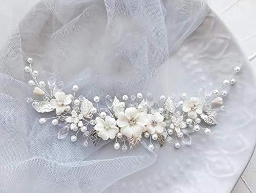 Simsly Braut-Blumen-Hochzeits-Haarschmuck, Silber-Hochzeits-Haarschmuck mit Perlen, Braut-Kopfschmuck, Blatt für Frauen und Mädchen