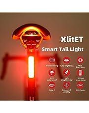 ENFITNIX XlitET Achterlicht voor fiets met sterke LED, USB oplaadbaar, slim fietsachterlicht, waterdicht achterlicht voor fiets, eenvoudig te installeren, automatisch aan/uit, past op alle racefietsen voor optimale fietsveiligheid