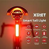 XlitET Luz trasera para bicicleta, Potente LED USB recargable Luz trasera de bicicleta inteligente, Luz trasera de ciclismo impermeable, Fácil de instalar, Encendido / apagado automático
