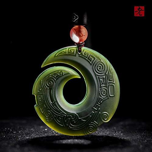 EASTCODE Natural Dark Green Nephrite Pendant Dragon Wealth God Pendant Necklace Men Women Jade Jewelry