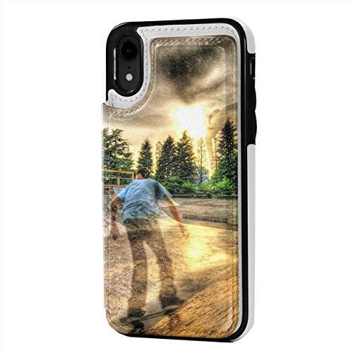 N/A Lederen iPhone XR Portemonneehouder, Kaarthouder Case met Creditcard Slots Skateboarding Print, Anti-Scratch Shock Proof Soft TPU Bumper Full-Body Beschermend Hoesje voor iPhone XR 6.1 Inch