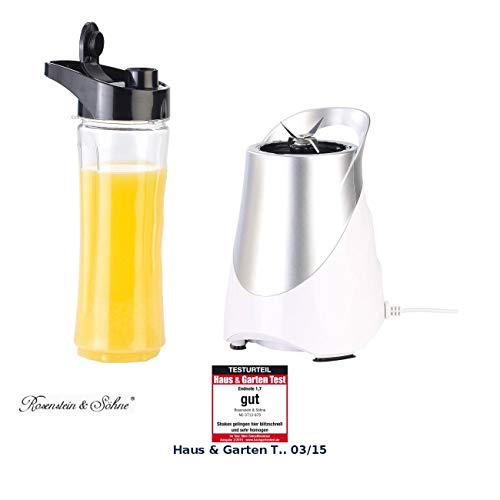 Rosenstein & Söhne Mini Mixer: 2in1-Standmixer inklusive Smoothie-Mix-Trinkbecher, 300 Watt, 600 ml (Shake Mixer)