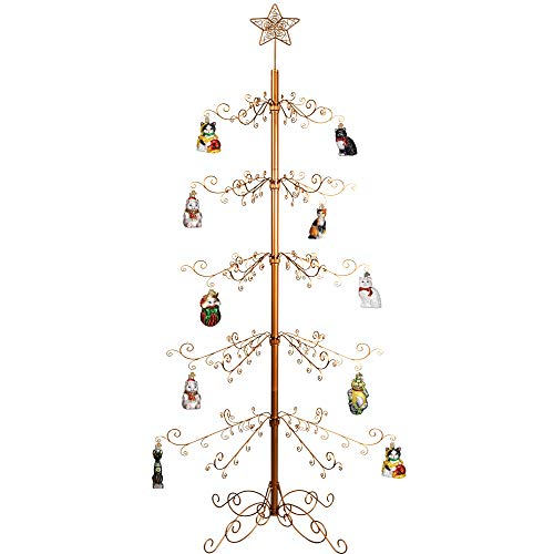HOHIYA Ornament Display Tree Stand Metal Christmas Wire Hook Hanger Dog Cat Glass Bauble Wrought Iron 84inch(Gold)
