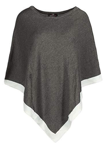 Zwillingsherz Poncho mit Baumwolle - Hochwertiges Cape für Frauen Damen Mädchen - XXL Umhängetuch und Tunika - Strick-Pullover - Sweatshirt - Stola für Frühjahr Sommer Herbst und Winter - ant