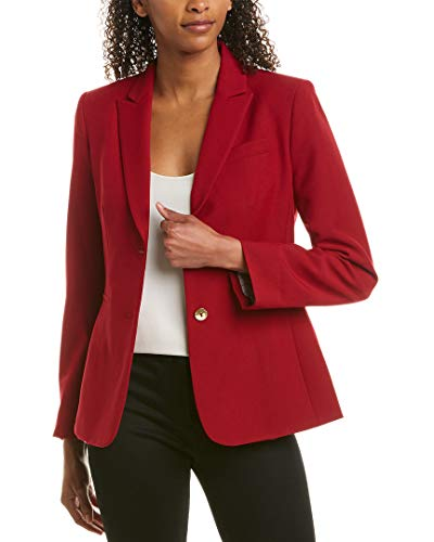 Tahari ASL Women's Two Button Striped Roll Sleeve Jacket, Cherry Red, 2