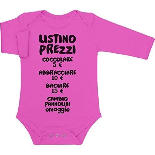 Shirtgeil Baby Bambini Listino Prezzi - Idee Regalo Body Neonato Manica Lunga Newborn Rosa Wow