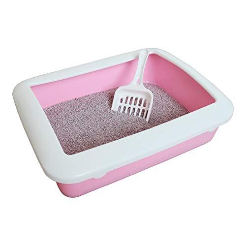 ZCY Vierkante Kattenbak Semi-Gesloten Anti-Splash Toilet Bedpan Kat Kleine Zandbak, Huisdier Levering CLT1002, roze