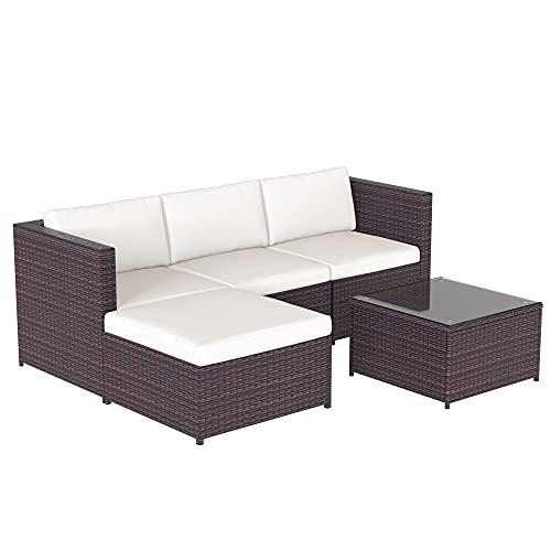 LEKER Poly Rattan Lounge-Sofagarnitur, Lounge-Gartenmöbel, Ecksofa, Couchgarnitur mit Sitz- und Rückenkissen, Lounge-Tisch mit Glasplatte