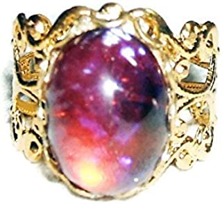 MEXICAN FIRE OPAL RING GOLD PLATED CZECH GLASS DRAGONS BREATH STONE WITH ADJUSTABLE BAND