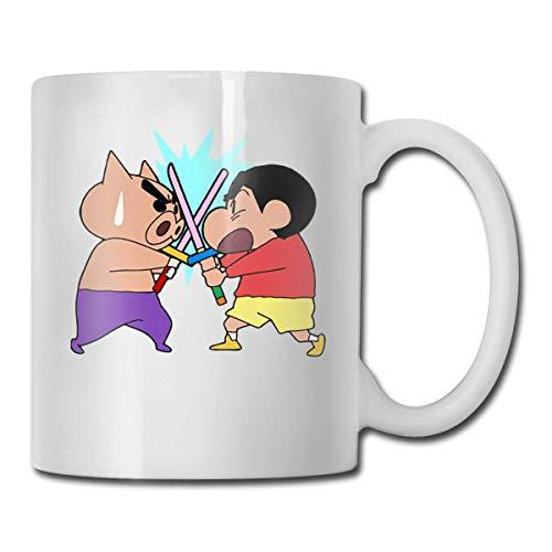 Taza de café divertida de 11 onzas, tazas de Shin-Chan Crayon Pig, cumpleaños único para mujeres, hombres