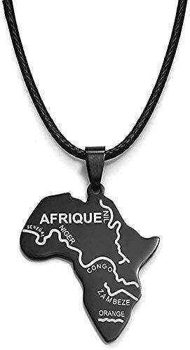 YOUZYHG co.,ltd Collar Mapa Negro de África Colgante Cuerdas Tarjetas africanas Joyas Collares Nigeria Sudáfrica Sudán Etiopía África 45 cm