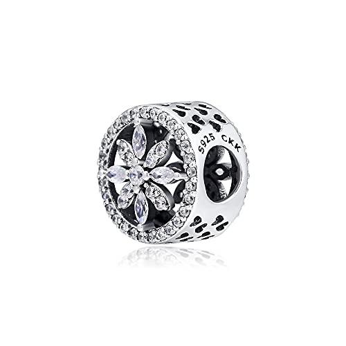LILANG Pulsera de joyería Pandora 925, ajustes Naturales para Collares, Cuentas de Copo de Nieve caladas con abalorio de Plata esterlina Transparente, Regalos de Bricolaje para Mujeres