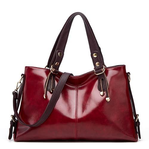 ZNXJC Damen Umhängetasche Clutch Fashion Oil Wax Leder One Shoulder Handtasche Große Kapazität Messenger Tote Bag Damen Rotwein 42×8×27CM