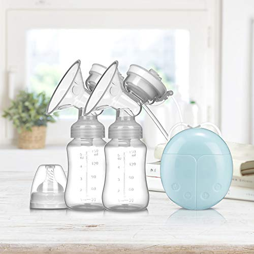 AINAAN 2019 Electric Double Breastpump Portable Milk Saver  Handsfree Silicone Breastfeeding Pump Like a Comfort Massage Baby Feeding and Breast Care 2019 Blue