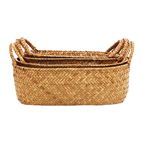 xingxing Cesta de mimbre de pasto marino, cesta de mimbre para colgar macetas de flores tejidas sucias para la colada (tamaño: 24 x 14 x 10 cm)