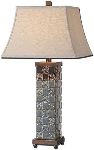 """wholesale Uttermost 27398 Mincio Lamp, outlet sale 30.5"""" L outlet sale x 16.0"""" W x 16.0"""" D, Dark Blue Glaze online"""