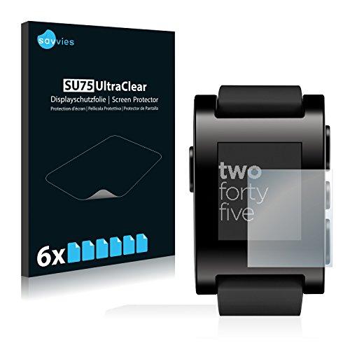 Savvies 6X Schutzfolie kompatibel mit Pebble Smartwatch Bildschirmschutz-Folie Ultra-transparent