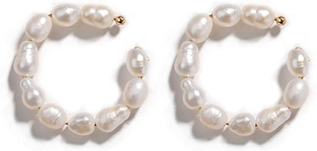 1 Store Pair Minimalist Faux Pearl Ear Hoop Gold Baltimore Mall Earrings Cuff Cuf