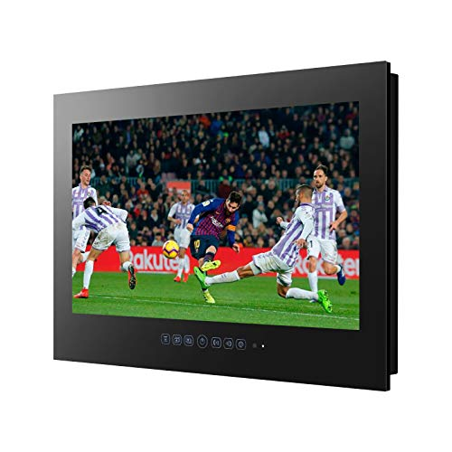 Haocrown 22-inch Bathroom TV Smart Touch Screen Waterproof Television for Hot Tub Shower Full HD 1080P Built-in Android 9.0 Wi-Fi Bluetooth (Black)