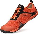 WHITIN Zapatilla Minimalista de Barefoot Trail Running para Hombre Zapato Descalzo Correr Deportivas Fitness Gimnasio Calzado Asfalto Naranja 42 EU