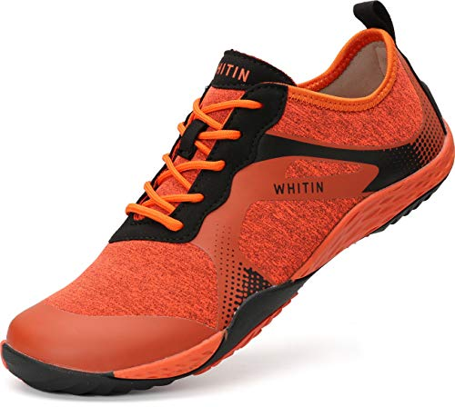 WHITIN Herren Barfussschuhe Traillaufschuh Barfuss Schuhe Barfußschuhe Minimalschuhe Zehenschuhe Trekkingschuhe Laufschuhe für Männer Straßenlaufschuhe Schnell Trocknend Badeschuhe Orange Größe 46 EU