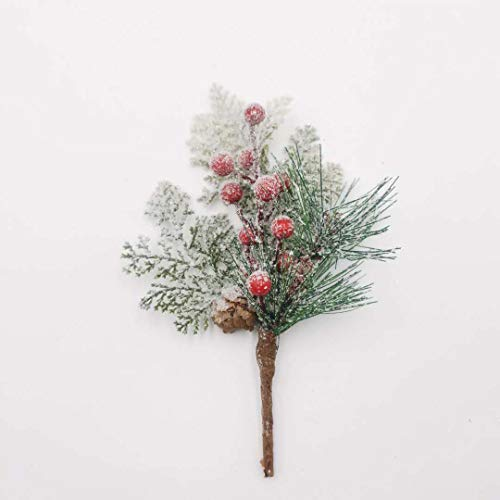 12 Pcs Christmas Picks Pine Cones Red Berries Christmas Greenery Christmas Floral Picks Christmas Tree Picks and Sprays Artificial Pine Branches Christmas Tree Decoration Holiday Winter Decor